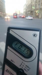 Измерение радиации на улице Чапаева в Санкт-Петербурге