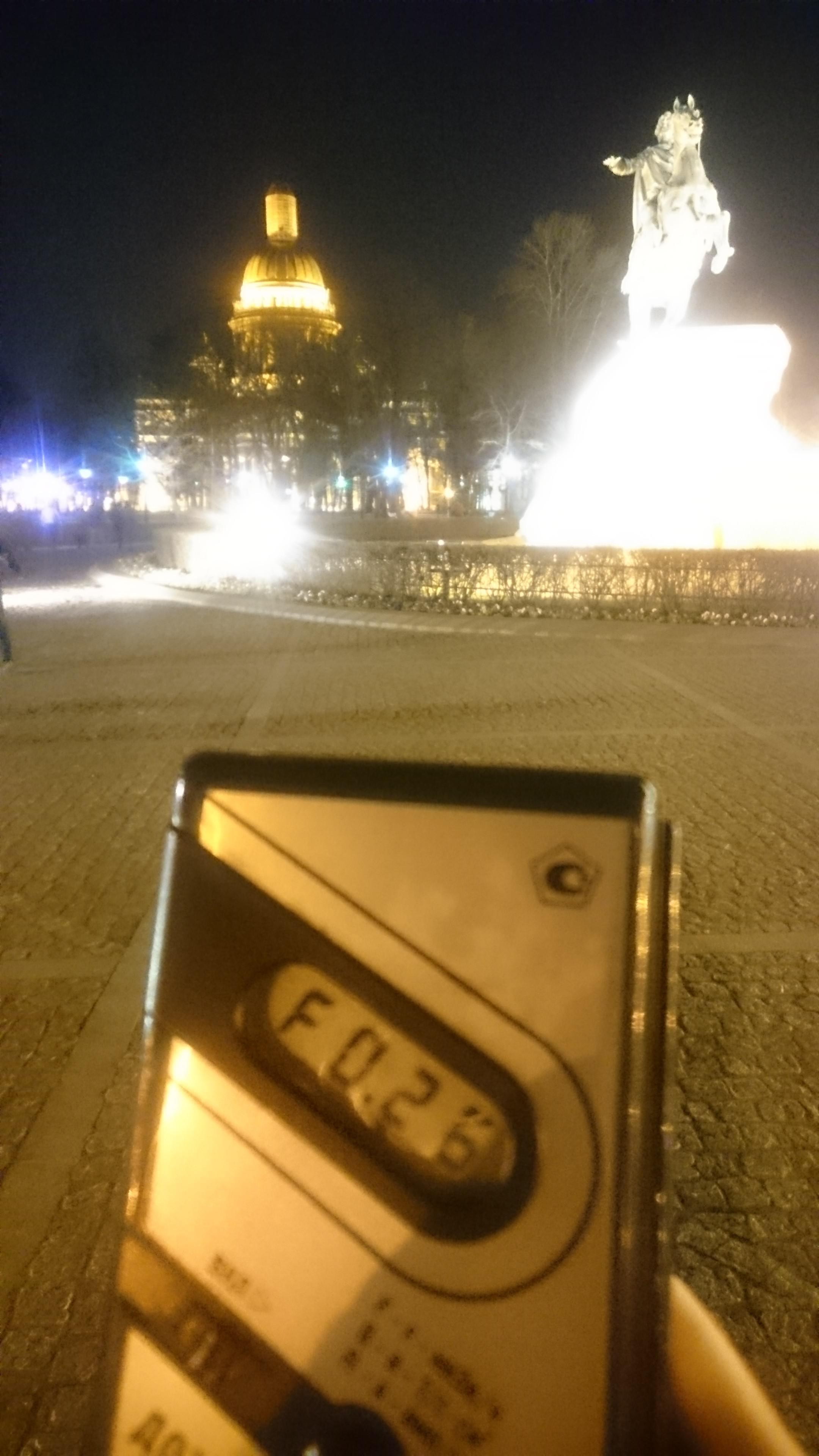 Точка измерения МЭД гамма-излучени у Медного Всадника в Санкт-Петербурге